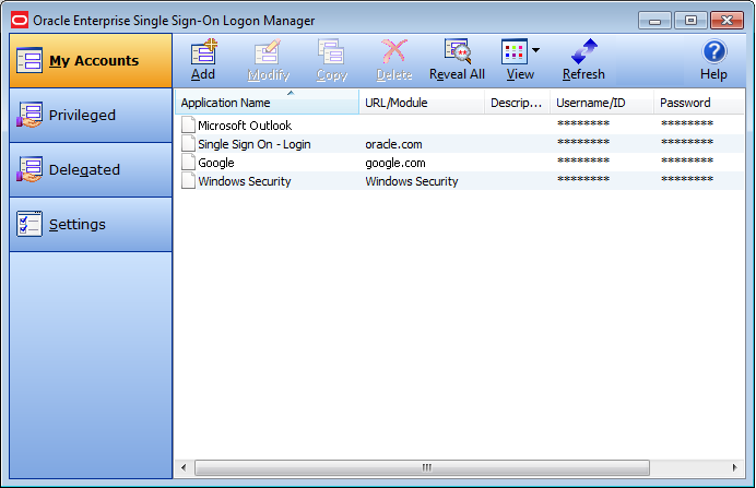 Интерфейс Oracle Enterprise Single Sign-On Logon Manager
