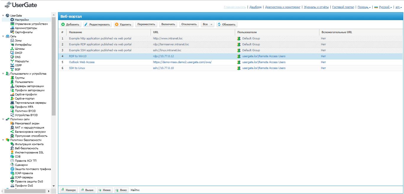 Вкладка «Веб-портал» (обзор опубликованных ресурсов) в UserGate