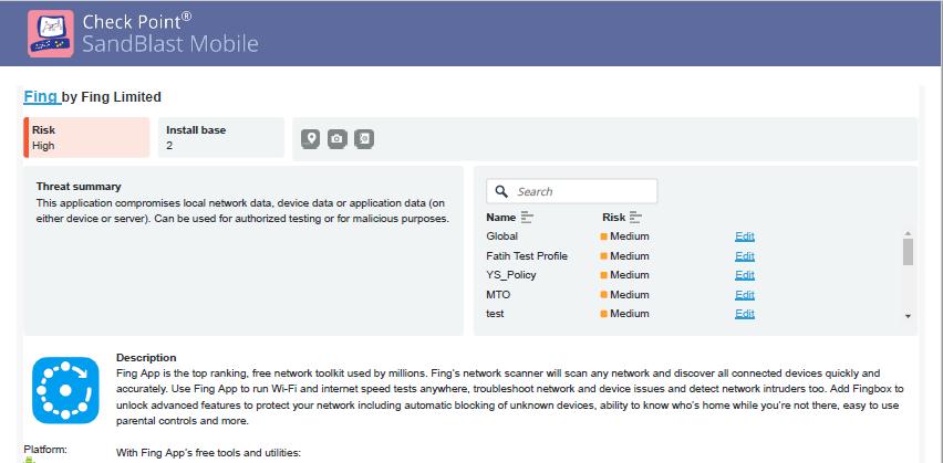 Рисунок 16. Пример PDF-отчёта о приложении в Check Point SandBlast Mobile