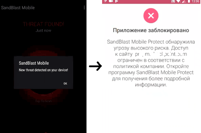 Блокировка доступа к ресурсу при обнаружении вредоносной программы в Check Point SandBlast >Mobile
