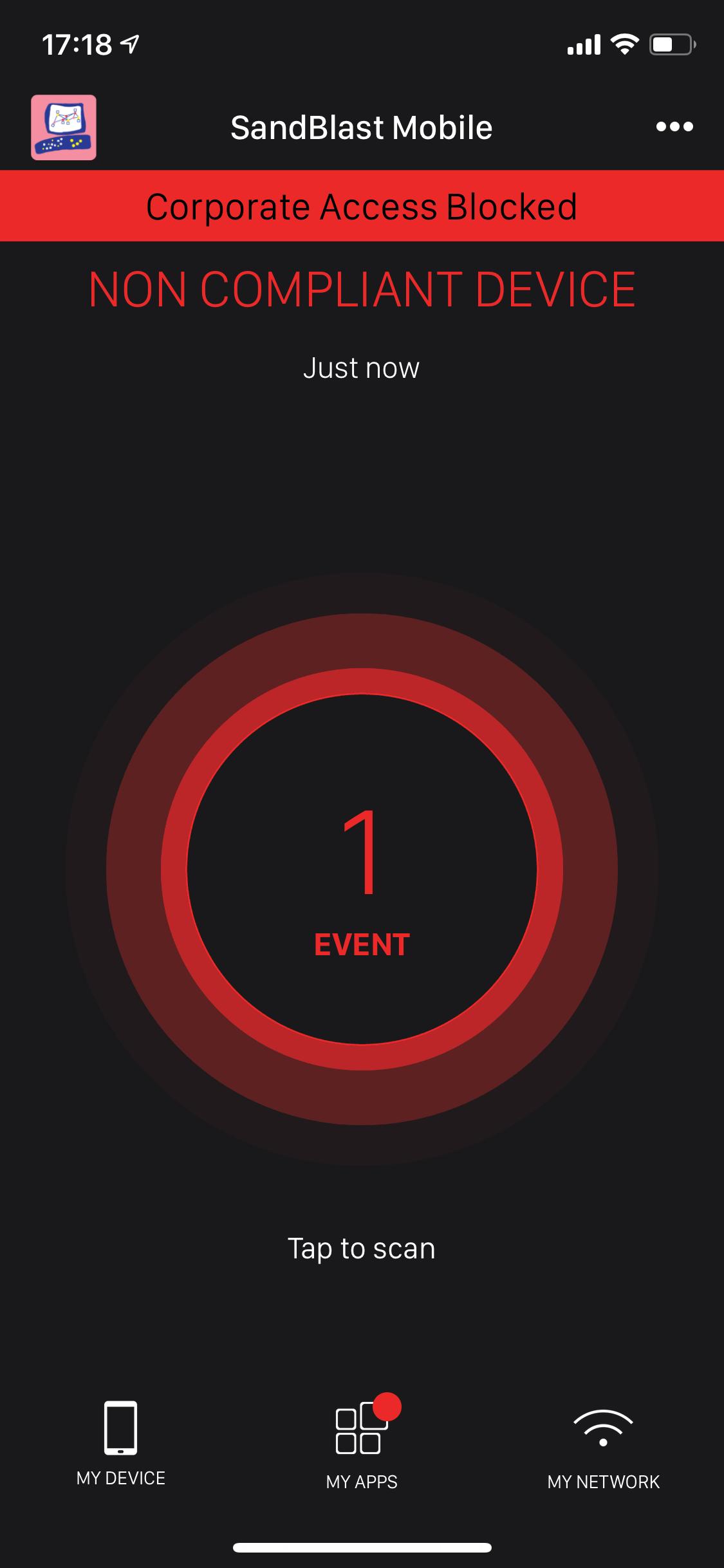 Рисунок 20. Сведения о событии безопасности в Check Point SandBlast Mobile на мобильном устройстве
