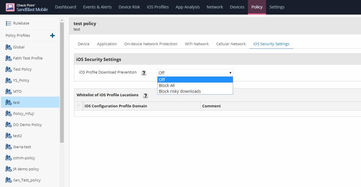 Рисунок 9. Создание политики профиля в разделе iOS Security Setting в Check Point SandBlast Mobile