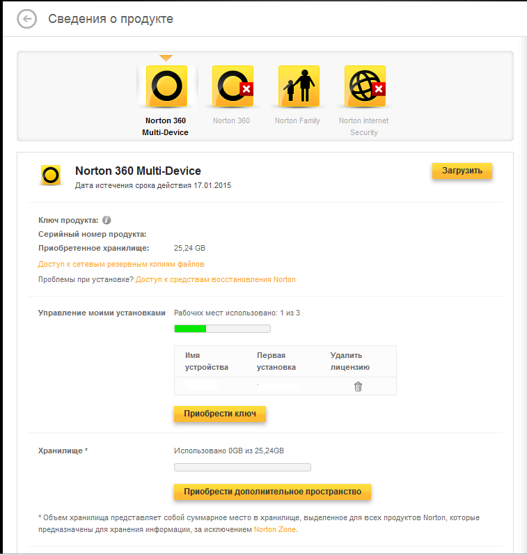Контроль лицензий в Norton Management