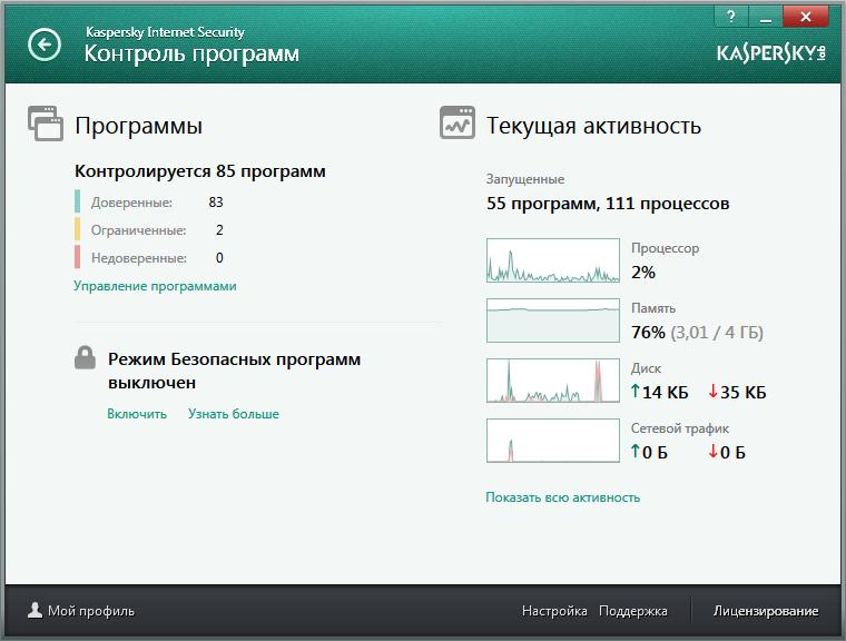 Контроль программ в Kaspersky Internet Security для всех устройств