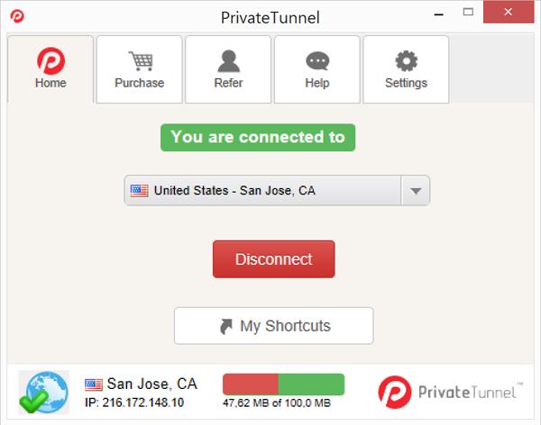 Внешний вид приложения PrivateTunnel для Windows