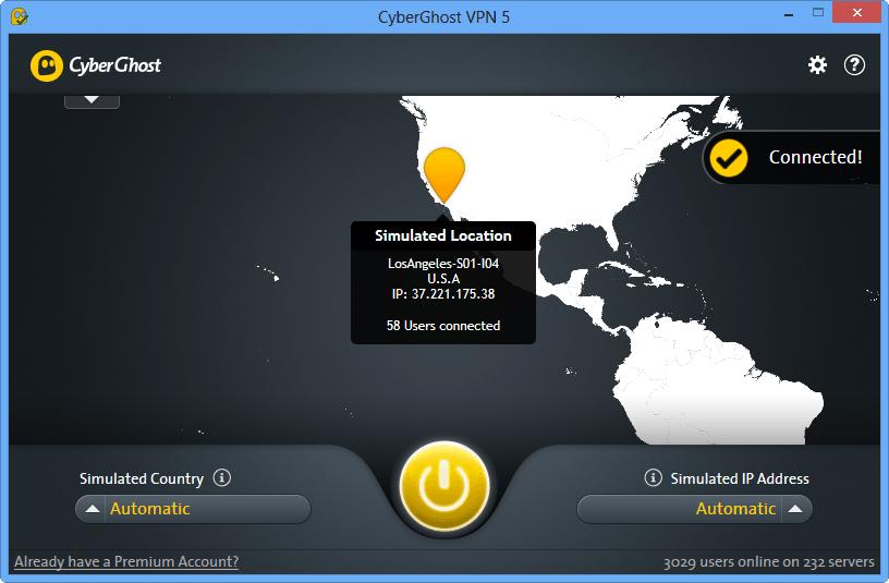 Внешний вид приложения CyberGhost для Windows