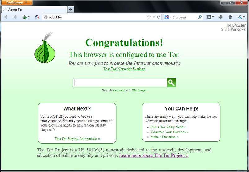 Внешний вид TOR Browser под Windows