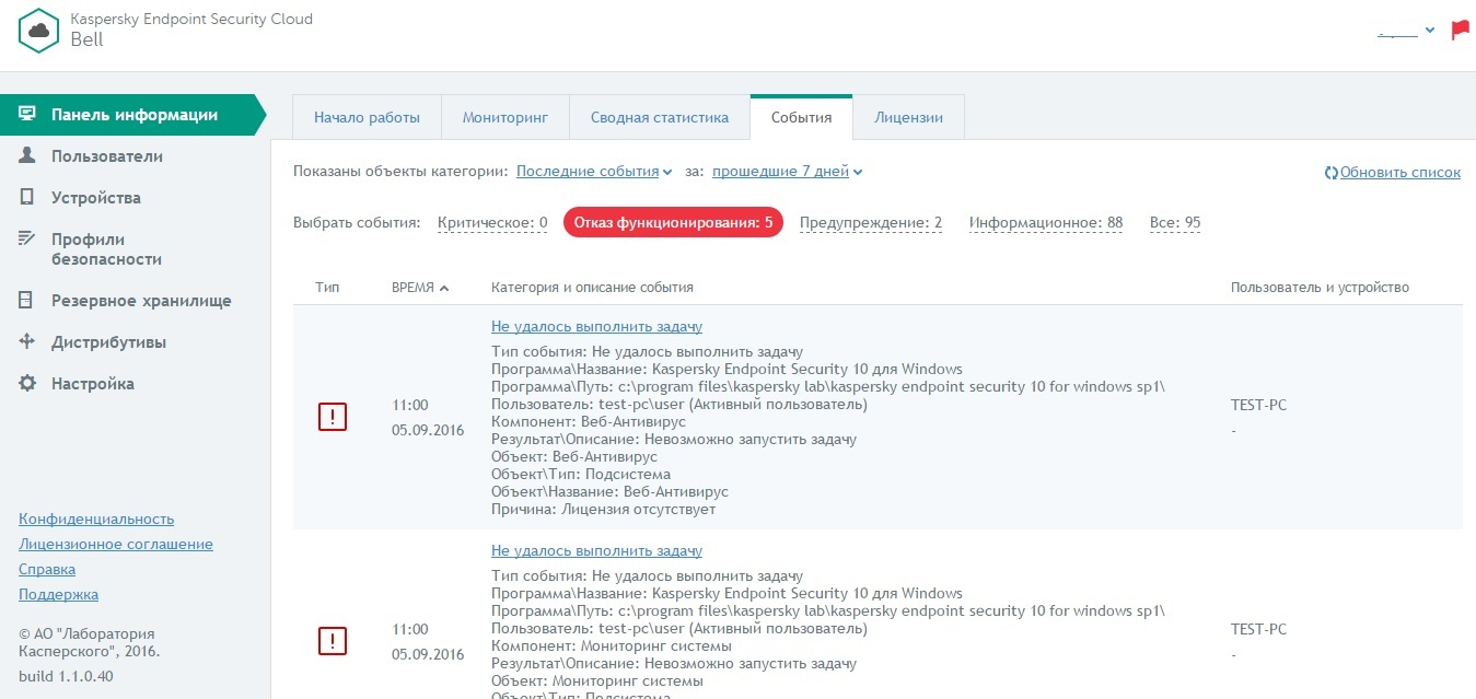 Журнал событий в Kaspersky Endpoint Security Cloud