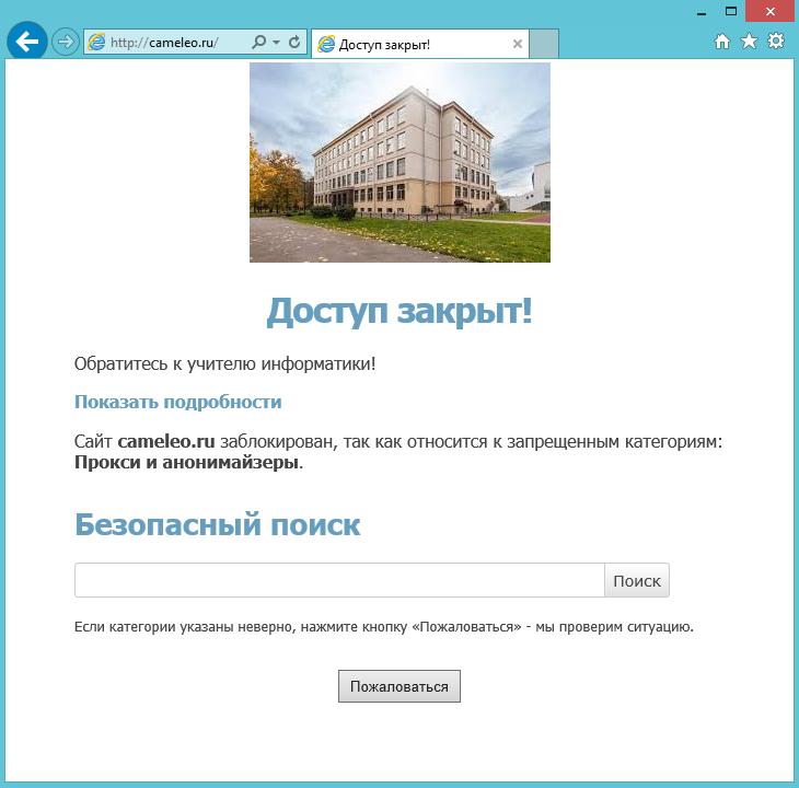 Внешний вид персонализированной страницы блокировки SkyDNS