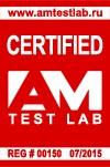 Сертификат AM Test Lab №00150 от 07.2015