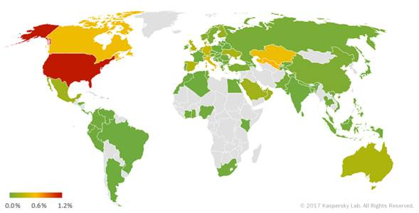 География мобильных троянцев-вымогателей в первом квартале 2017 года (процент атакованных пользователей)