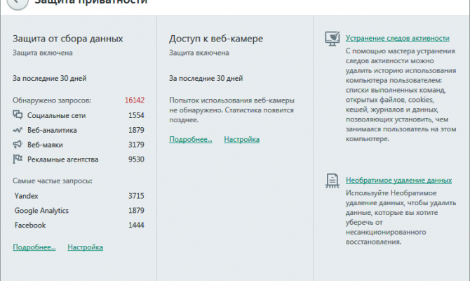 Информация о приватности в Kaspersky Total Security