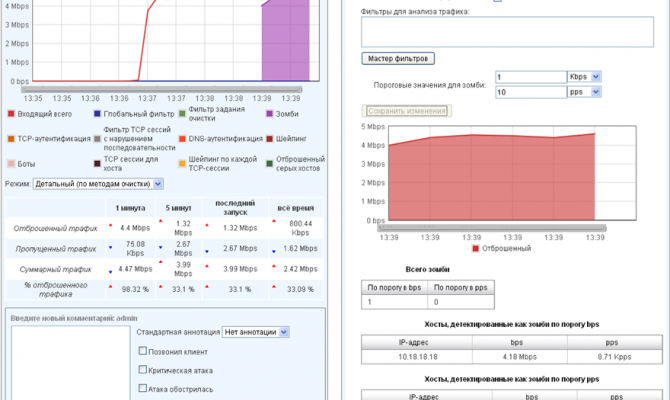 Фильтрация UDP-flood «Очистителем»