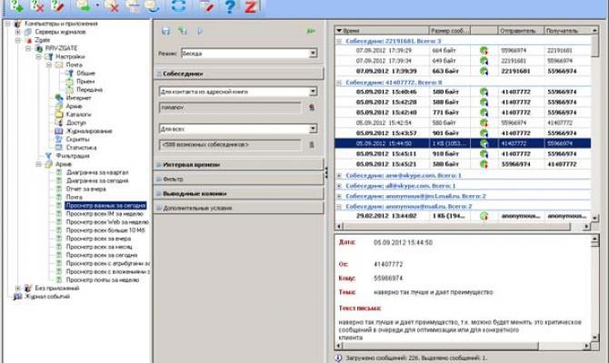 Пример табличного отчета в Zecurion Zgate 4.0