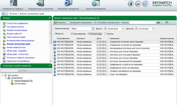 Консоль управления Infowatch Endpoint Security - анализ изменения прав