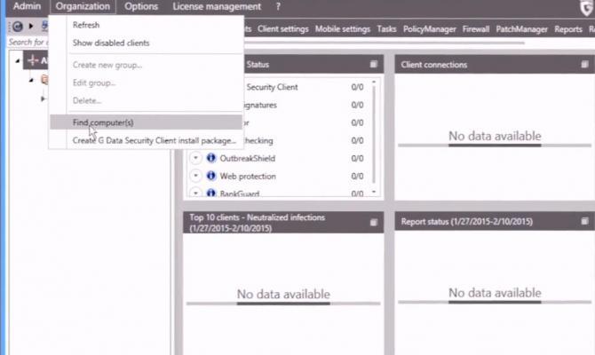 Панель настройки G Data Antivirus Business
