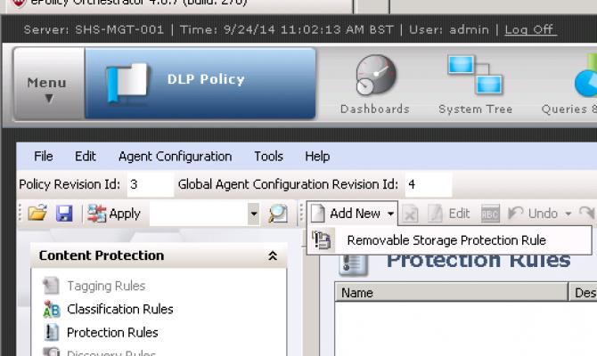 Настройка политик безопасности в McAfee Device Control