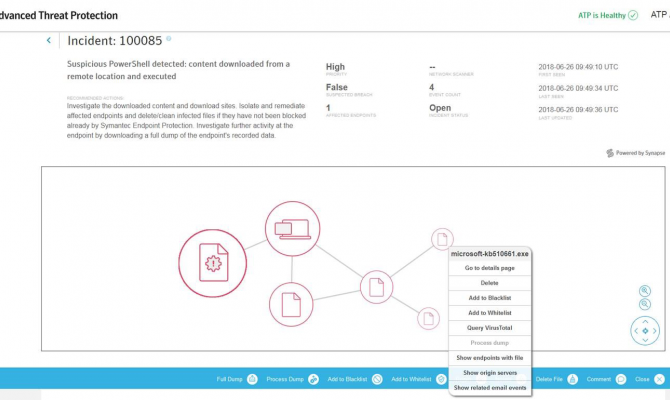 Интерфейс решения Symantec Advanced Threat Protection
