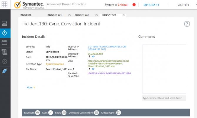 Информация об инциденте Symantec Advanced Threat Protection