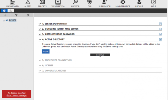 Настройка сервера Офисный контроль и DLP Safetica