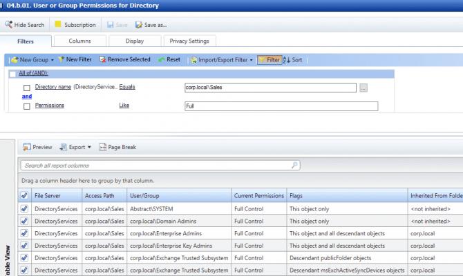 Отчёты модуля Varonis DatAdvantage для анализа прав доступа в Active Directory