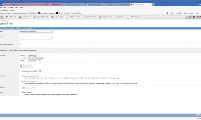 Редактирование задач в клиентском каталоге McAfee Application Control
