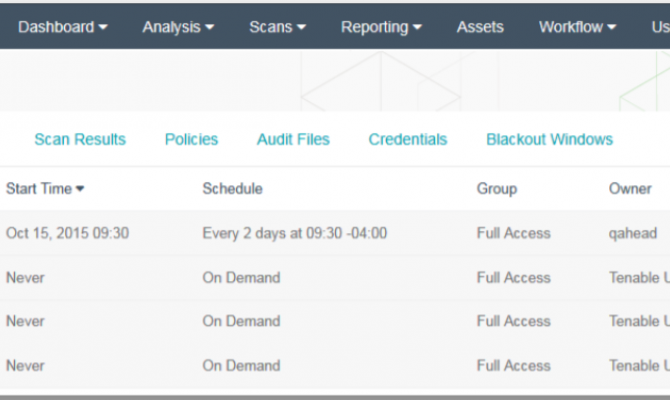 В списке активного сканирования Tenable SecurityCenter можно сортировать значения по столбцам