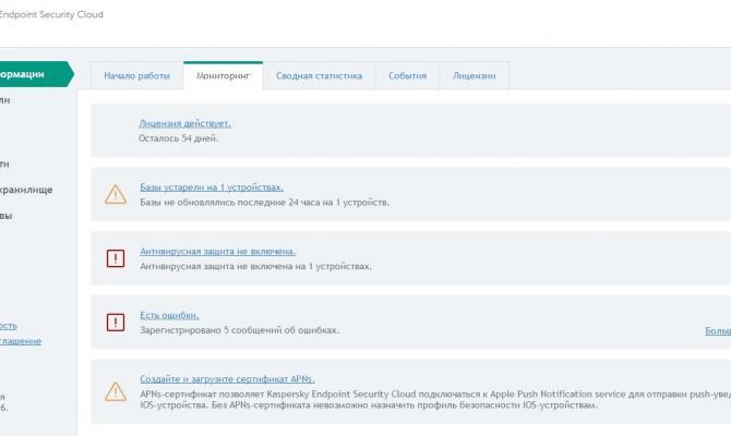Текущая информация о работе Kaspersky Endpoint Security Cloud