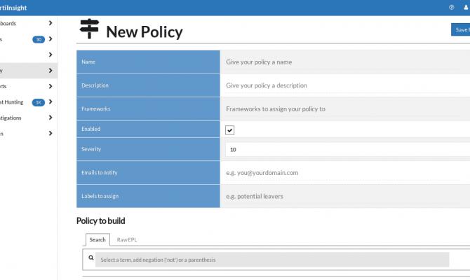 Окно создания новой политики в FortiInsight