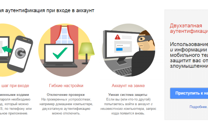 Настройка двухфакторной аутентификации для сервисов Google