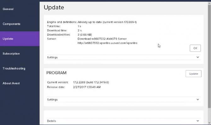 Вкладка проверки обновлений Avast Business Antivirus Pro