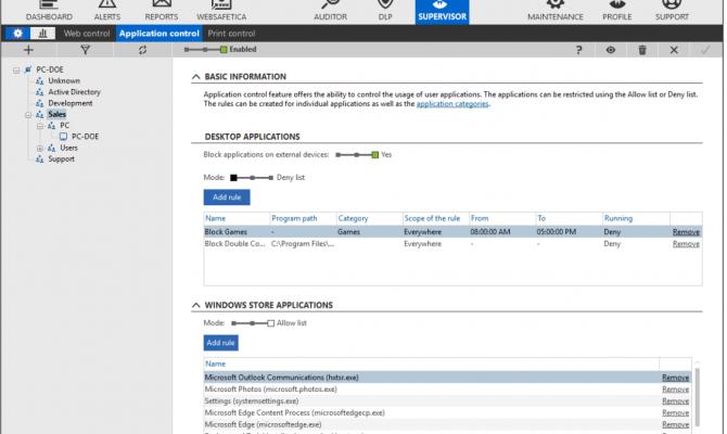 Вкладка Офисный контроль и DLP Safetica настройки контроля приложений