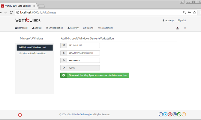 Добавление хоста в список машин для резервного копирования Vembu BDR Suite