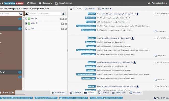 Фильтрация событий в StaffCop Enterprise 3.1