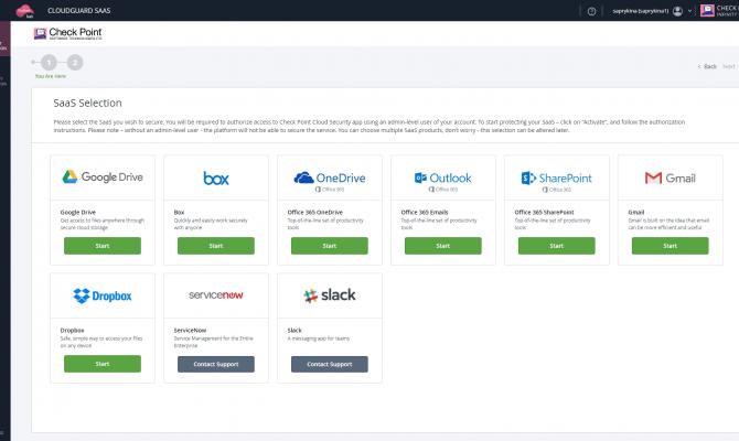 Интерфейс администратора CloudGuard SaaS. Перечень доступных SaaS