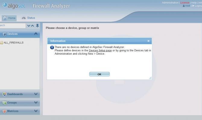 Первый вход в интерфейс AlgoSec Firewall Analyzer