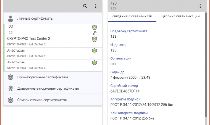 Отображение сведений о тестовом сертификате в разделе «Сертификаты» КриптоАРМ ГОСТ