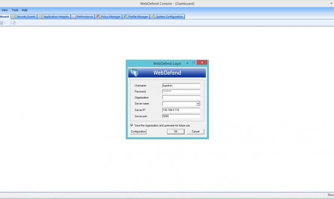 Подключение к Trustwave Web Application Firewall из консоли Trustwave WebDefend Console