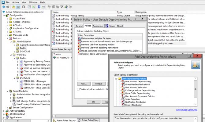 Настройка объекта политики в Active Roles для операций блокировки доступа