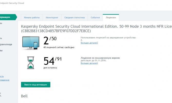 Сводная информация по лицензиям в Kaspersky Endpoint Security Cloud