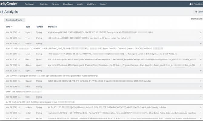 В Tenable SecurityCenter можно просматривать события syslog