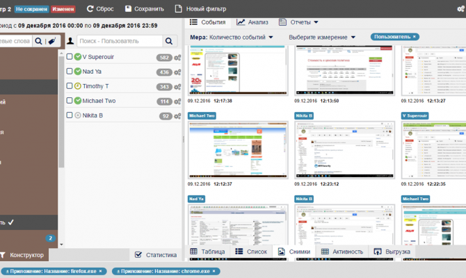 Галерея скриншотов в StaffCop Enterprise 3.1