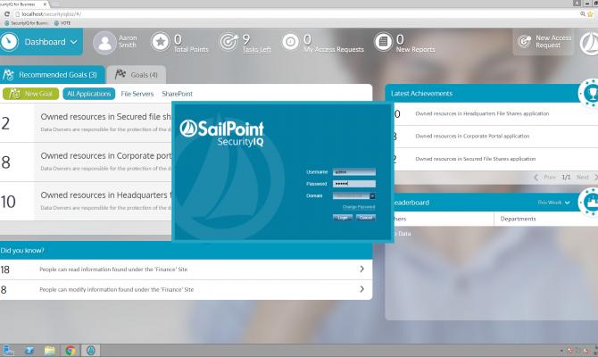 Стартовая страница в SailPoint SecurityIQ