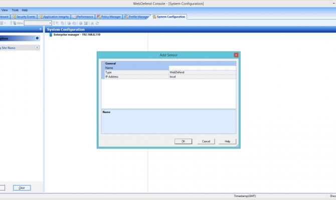 Добавление сенсора – защищаемого веб-сервера в Trustwave Web Application Firewall