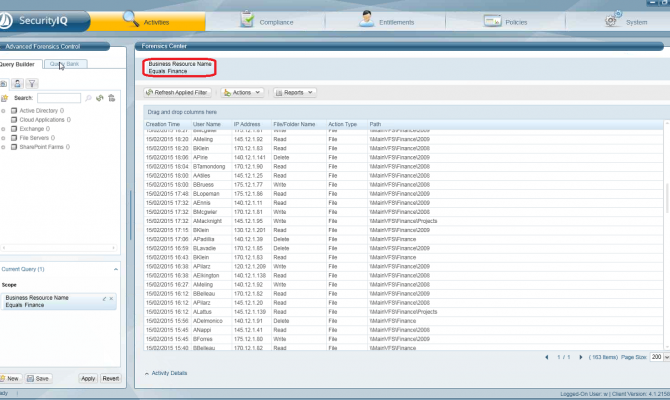 Информация об активности пользователей по доступу к контролируемым данным в SailPoint SecurityIQ