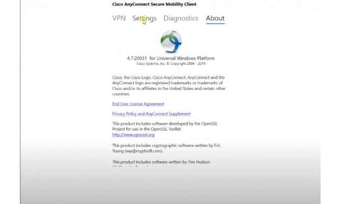 Cisco AnyConnect. О приложении для windows.
