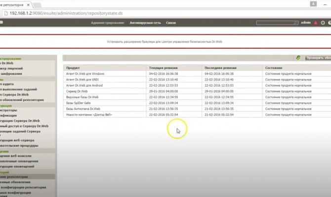Dr.Web Gateway Security Suite. Состояние репозитория