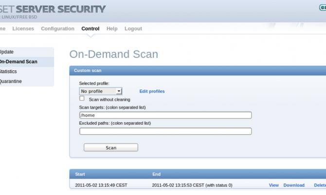 ESET Gateway Security. Сканирование