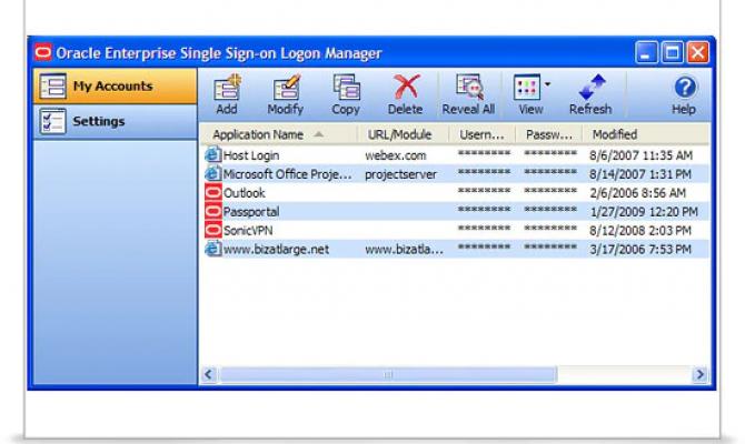 Oracle Enterprise Single Sign-on - окно единой аутентификации для разных корпоративных ресурсов
