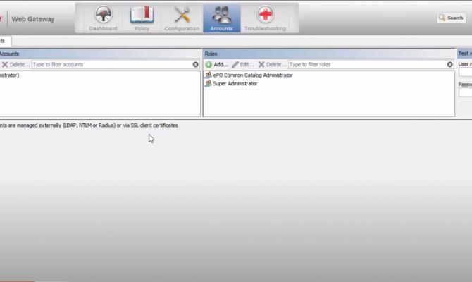McAfee Web Gateway. Вкладка аккаунтов